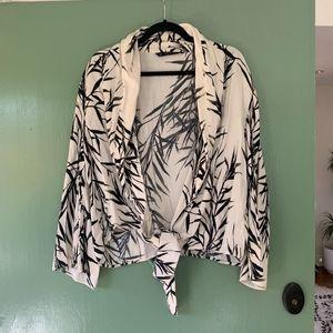 White Leaf Print Jacket || Zara